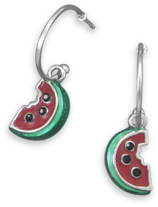 Rhodium Plated 1/2 Hoop Earrings with Watermelon Charm 925 Sterling Silver
