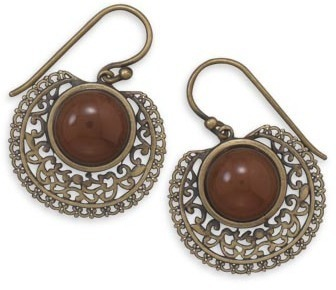 Oxidized 14 Karat Gold Plated Carnelian Earrings 925 Sterling Silver