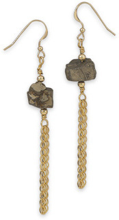 14/20 Gold Filled Pyrite Drop Earrings
