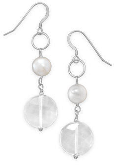 Cultured Freshwater Pearl and Quartz Drop Earrings 925 Sterling Silver - DISCONTINUED