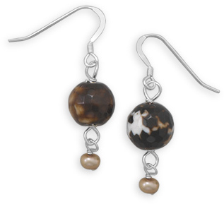 Brown Agate and Cultured Freshwater Pearl Earrings 925 Sterling Silver
