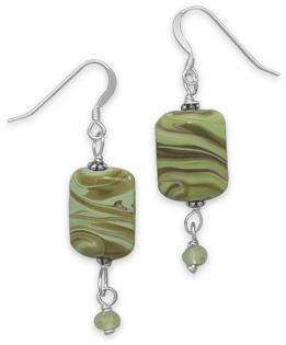Green Lampwork Glass Earrings 925 Sterling Silver