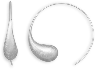 Satin Finish Wire Earrings 925 Sterling Silver