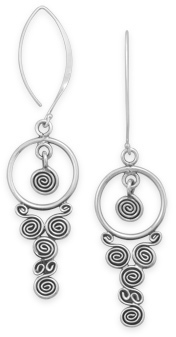 Oxidized Spiral Drop Earrings 925 Sterling Silver