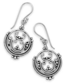 Oxidized Swirl and Beaded Design Earrings 925 Sterling Silver