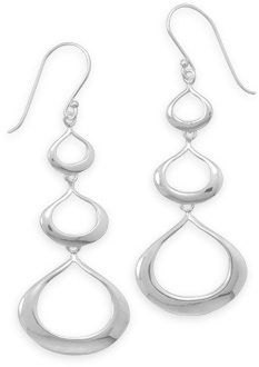 Graduated Triple Tear Drop Earrings 925 Sterling Silver