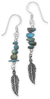 Turquoise Earrings with Oxidized Feather Drop 925 Sterling Silver