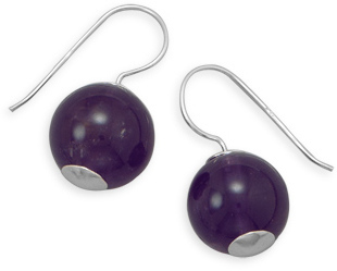 Amethyst Bead Earrings 925 Sterling Silver