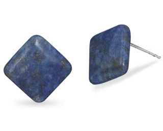 Diamond Shape Lapis Button Earrings 925 Sterling Silver