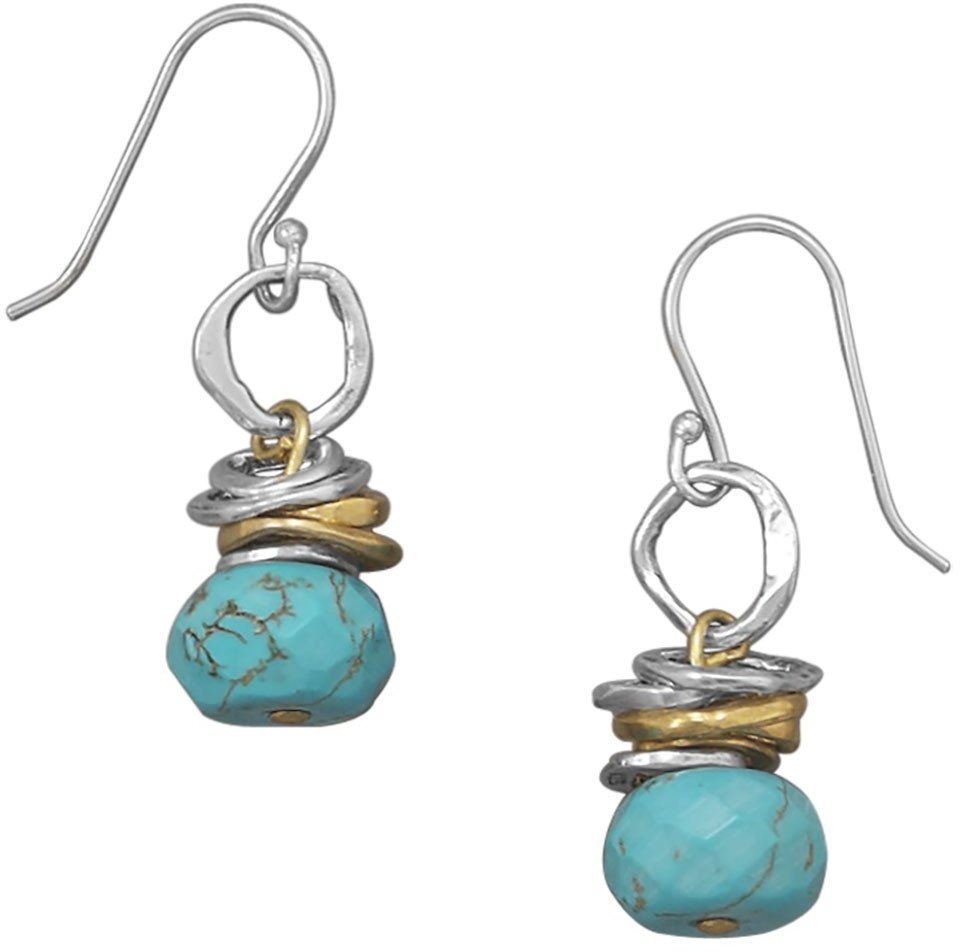 Two Tone Turquoise Drop Earrings 925 Sterling Silver