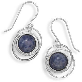 Sodalite Drop Earrings 925 Sterling Silver