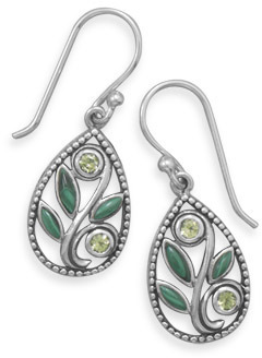 Malachite and Peridot Drop Earrings 925 Sterling Silver