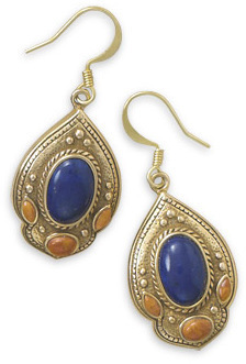 Multistone Ornate Bronze Earrings