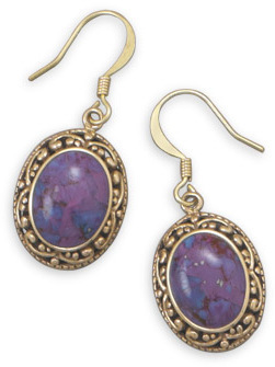 Bronze and Dyed Purple Turquoise Earrings