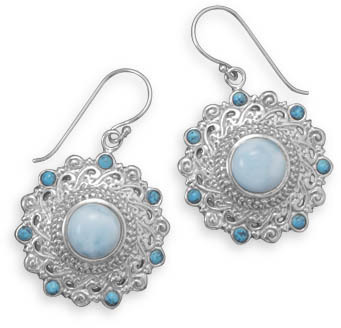Larimar and Shattuckite Earrings 925 Sterling Silver