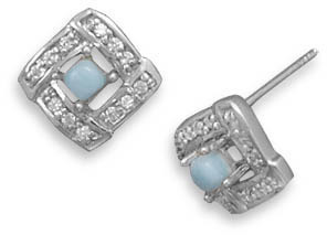 Square CZ and Larimar Earrings 925 Sterling Silver