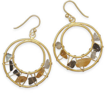 14 Karat Gold Plated Multistone Earrings 925 Sterling Silver