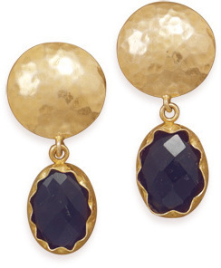 14 Karat Gold Plated Amethyst Clip-On Earrings 925 Sterling Silver