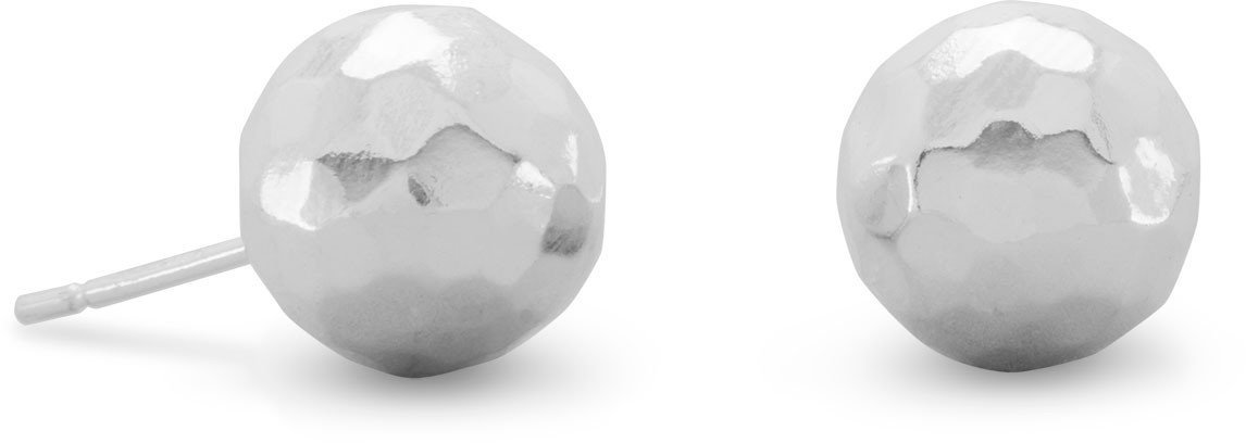 "10mm (3/8"") Hammered Ball Earrings 925 Sterling Silver"