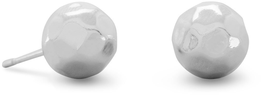 "8mm (1/3"") Hammered Ball Earrings 925 Sterling Silver"