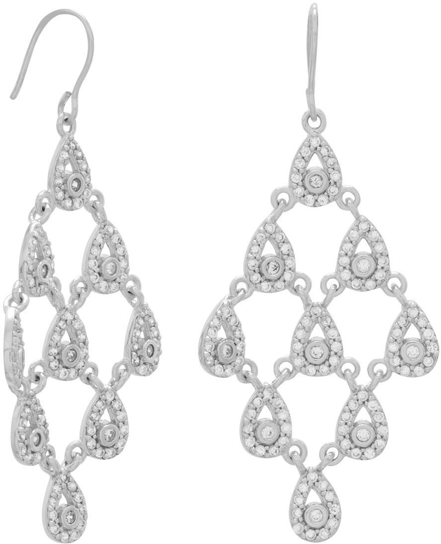 Rhodium Plated Pear Drop Chandelier Earrings 925 Sterling Silver