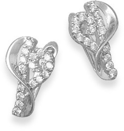 Rhodium Plated CZ Heart Earrings 925 Sterling Silver