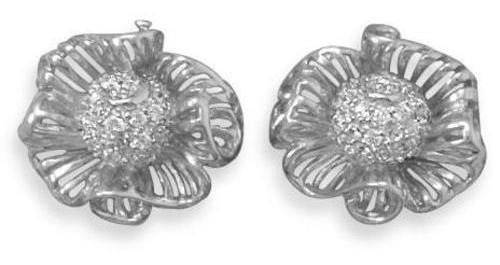 Rhodium Plated CZ Flower Earrings 925 Sterling Silver