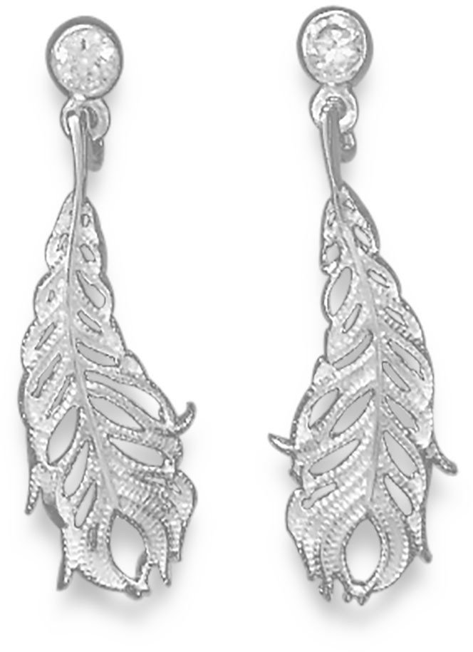 CZ Post Earrings with Sterling Silver Feather Drop 925 Sterling Silver