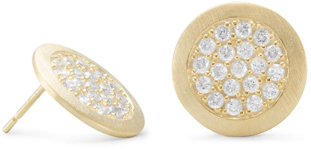 14 Karat Gold Plated Pave CZ Post Earrings 925 Sterling Silver