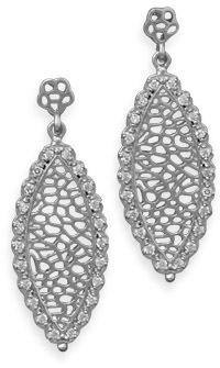 Rhodium Plated Marquise Shape Drop Earrings 925 Sterling Silver