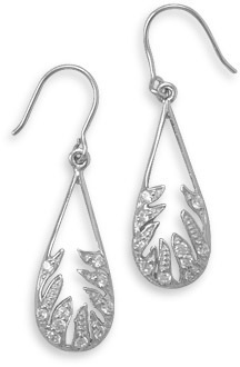 Rhodium Plated Leaf Design Drop Earrings 925 Sterling Silver