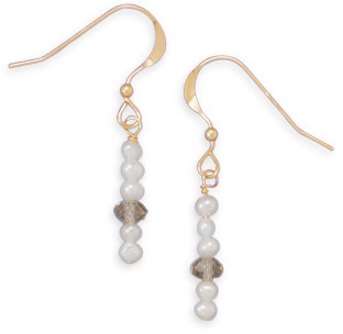 14/20 Gold Filled Cultured Freshwater Pearl and Crystal Earrings