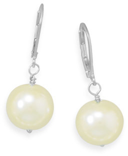 Yellow Glass Pearl Earrings 925 Sterling Silver - DISCONTINUED