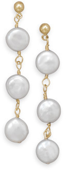 14/20 Gold Filled Cultured Freshwater Coin Pearl Earrings