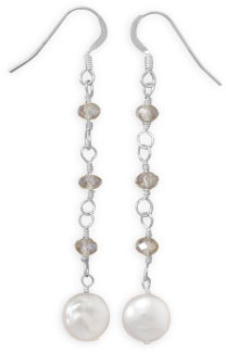 Cultured Freshwater Coin Pearl and Crystal Drop Earrings 925 Sterling Silver