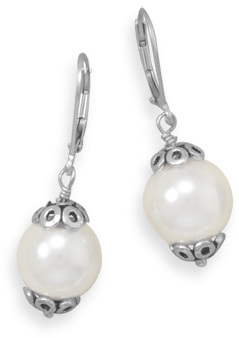 White Glass Pearl Drop Earrings 925 Sterling Silver - DISCONTINUED