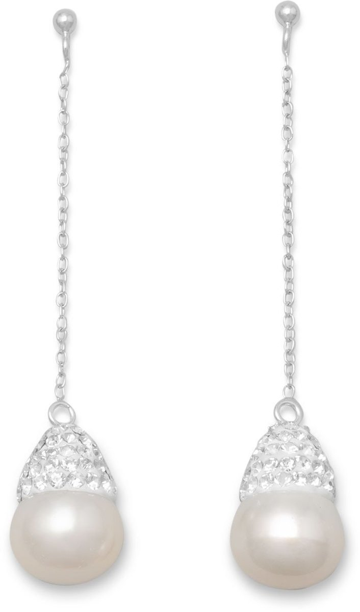 Cultured Freshwater Pearl and Crystal Drop Earrings 925 Sterling Silver