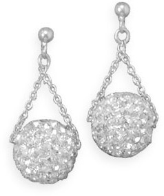 Crystal Ball Drop Earrings 925 Sterling Silver