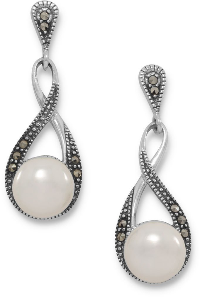 Marcasite and Shell Pearl Drop Earrings 925 Sterling Silver