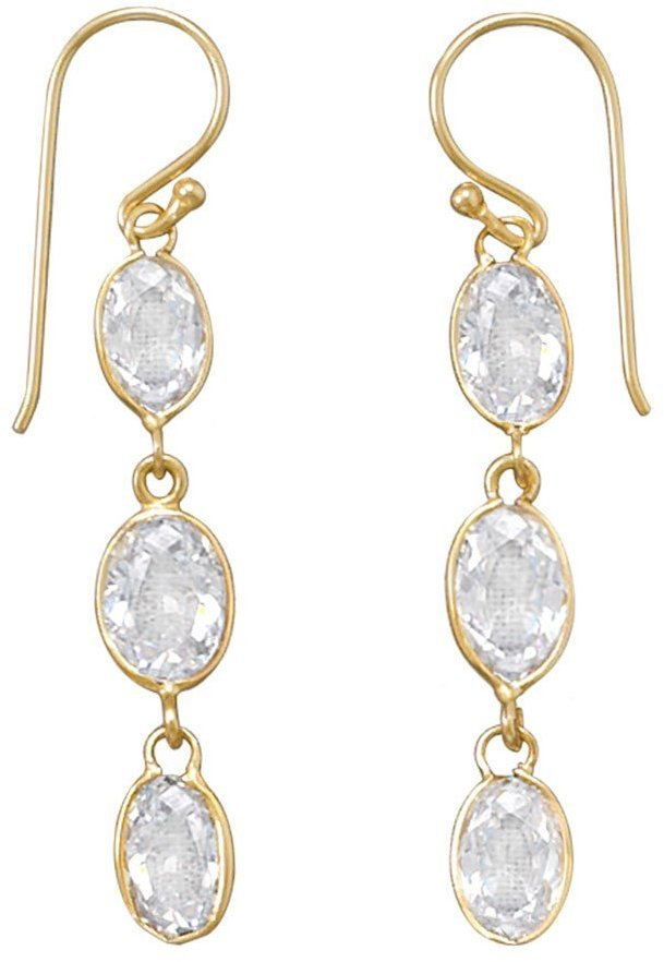 14 Karat Gold Plated CZ Earrings 925 Sterling Silver