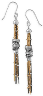 Multistrand Beaded French Wire Earrings 925 Sterling Silver