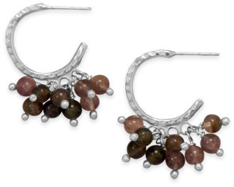 Hammered Half Hoop Earrings with Tourmaline Beads 925 Sterling Silver