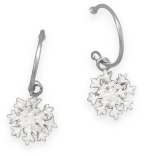 Snowflake Charm Earrings 925 Sterling Silver