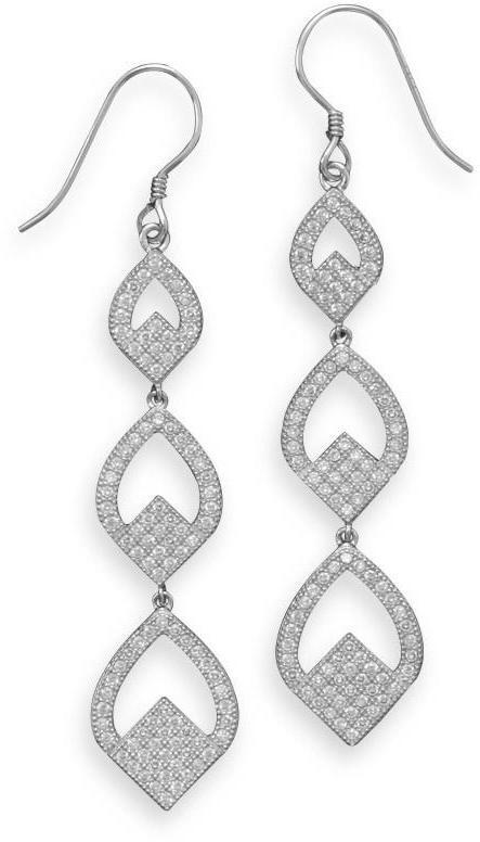 Rhodium Plated Micro Pave CZ Triple Drop Earrings 925 Sterling Silver
