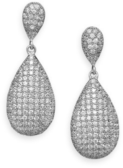 Rhodium Plated Micro Pave CZ Pear Earrings 925 Sterling Silver
