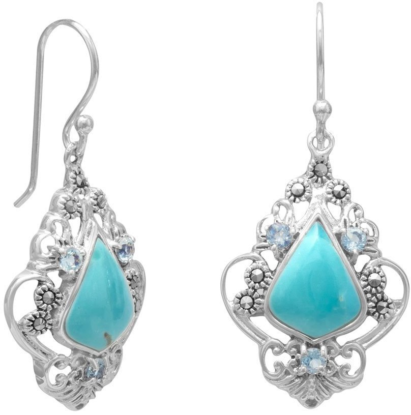 Turquoise, Blue Topaz and Marcasite Earrings 925 Sterling Silver