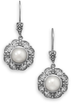 "Ornate Cultured Freshwater 8mm (1/3"") Button Pearl Earrings 925 Sterling Silver"