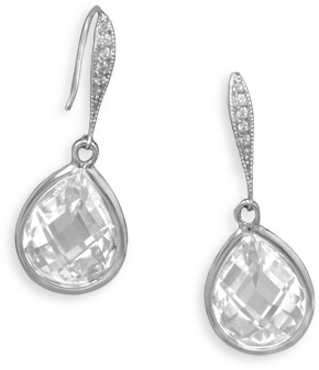 CZ Drop Wire Earrings 925 Sterling Silver