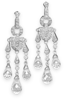 Rhodium Plated Chandelier Earrings 925 Sterling Silver
