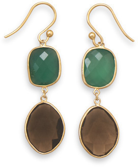 14 Karat Gold Plated Earrings with Onyx and Quartz 925 Sterling Silver